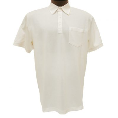Men's Gabicci Short Sleeve Knit Hard Collared 52% Cotton 48% Polyester Polo Shirt, #Z05 Cream