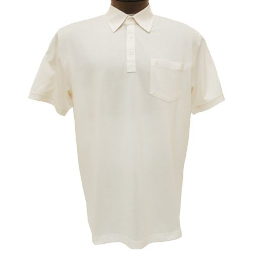 Men's Gabicci Polo Shirt, Short Sleeve Knit With Hard Collar, #Z05 Cream