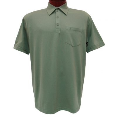 Men's Gabicci Short Sleeve Knit Hard Collared 52% Cotton 48% Polyester Polo Shirt, #Z05 Sage
