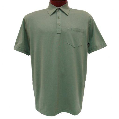 Men's Gabicci Polo Shirt, Short Sleeve Knit With Hard Collar, #Z05 Sage