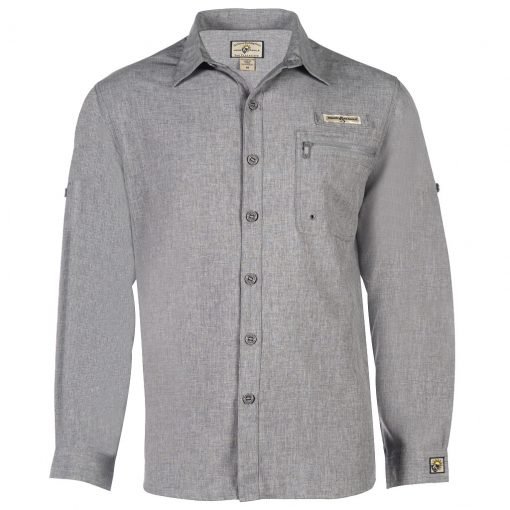 Men's Shirt, Hook & Tackle, Long Sleeve Tamarindo Performance Sun Protection, Quick-Dry #M01054L Charcoal Heather
