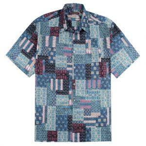Men's Shirt, Tori Richard Cotton Lawn Relaxed Fit Short Sleeve, Yukata #MB00 Charcoal (XXL, ONLY!)