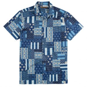 "Men's Shirt, Tori Richard Cotton Lawn Relaxed Fit Short Sleeve, Yukata #MB00 Navy ""USE COUPON TR2 AT CHECK OUT"""