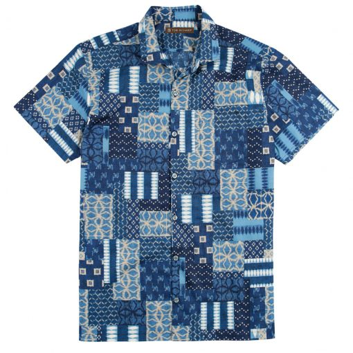 Men's Shirt, Tori Richard Cotton Lawn Relaxed Fit Short Sleeve, Yukata #MB00 Navy