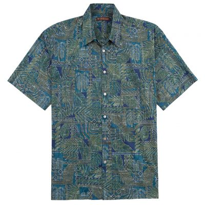 Men's Tori Richard Cotton Lawn Relaxed Fit Short Sleeve Shirt, Matchbox #6447 Navy