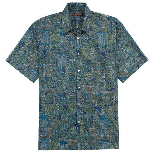 Men's Tori Richard Cotton Lawn Relaxed Fit Short Sleeve Shirt, Matchbox #6447 Navy