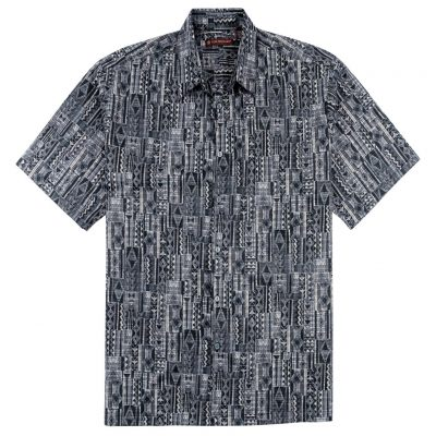 Men's Shirt, Tori Richard Cotton Lawn Relaxed Fit Short Sleeve, Tapa Rhythm #6455 Black