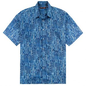 "Men's Shirt, Tori Richard Cotton Lawn Relaxed Fit Short Sleeve, Tapa Rhythm #6455 Navy ""USE COUPON TR2 AT CHECK OUT"""