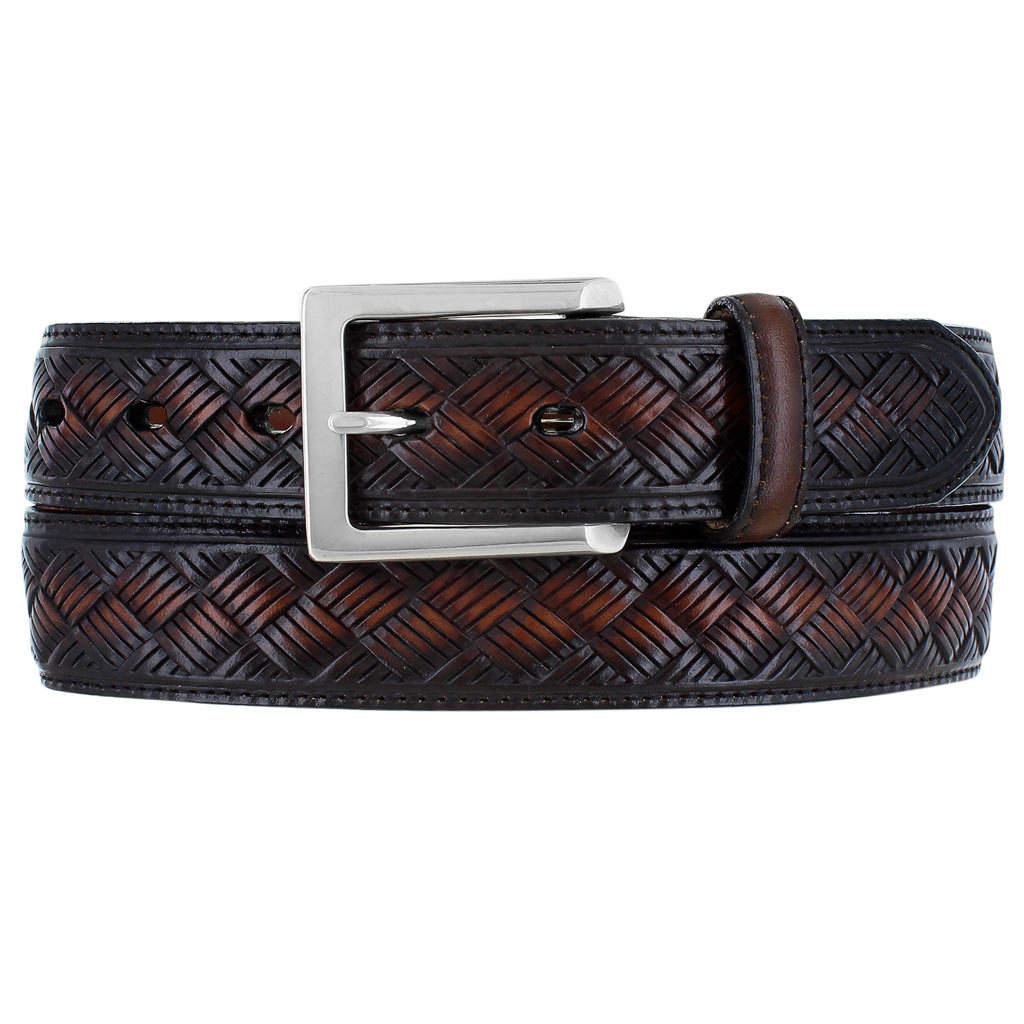 Men's Leather Belt By Brighton, Crosby #M11717 Cordovan