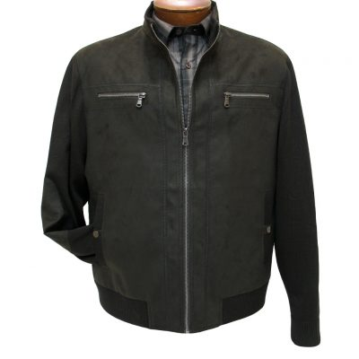 Men's ENZO Faux Suede With Knit Trim Mock Neck Bomber Jacket, Harrison-1 Dark Taupe