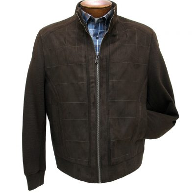 Men's ENZO Faux Suede With Knit Trim Mock Neck Bomber Jacket, Shawn-1 Brown