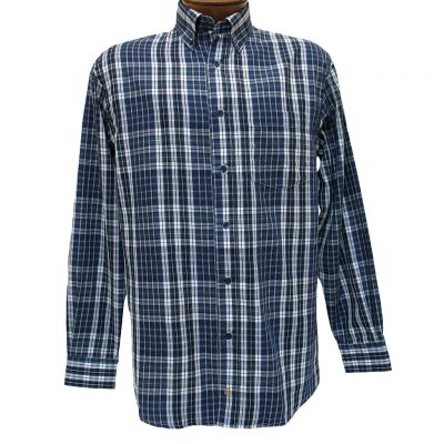 Men's F/X Fusion Long Sleeve Woven Wrinkle Resistant Sport Shirt, Denim Plaid #D1008