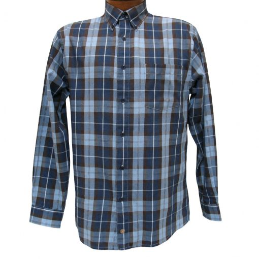Men's F/X Fusion Long Sleeve Woven Wrinkle Resistant Sport Shirt, Denim Plaid #D1012
