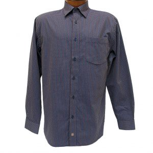 Men's F/X Fusion Long Sleeve Woven Wrinkle Resistant Sport Shirt, Brown/Navy Geometric #D1013 (XXL, ONLY!)