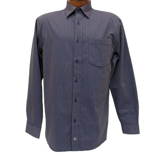 Men's F/X Fusion Long Sleeve Woven Wrinkle Resistant Sport Shirt, Brown/Navy Geometric #D1013