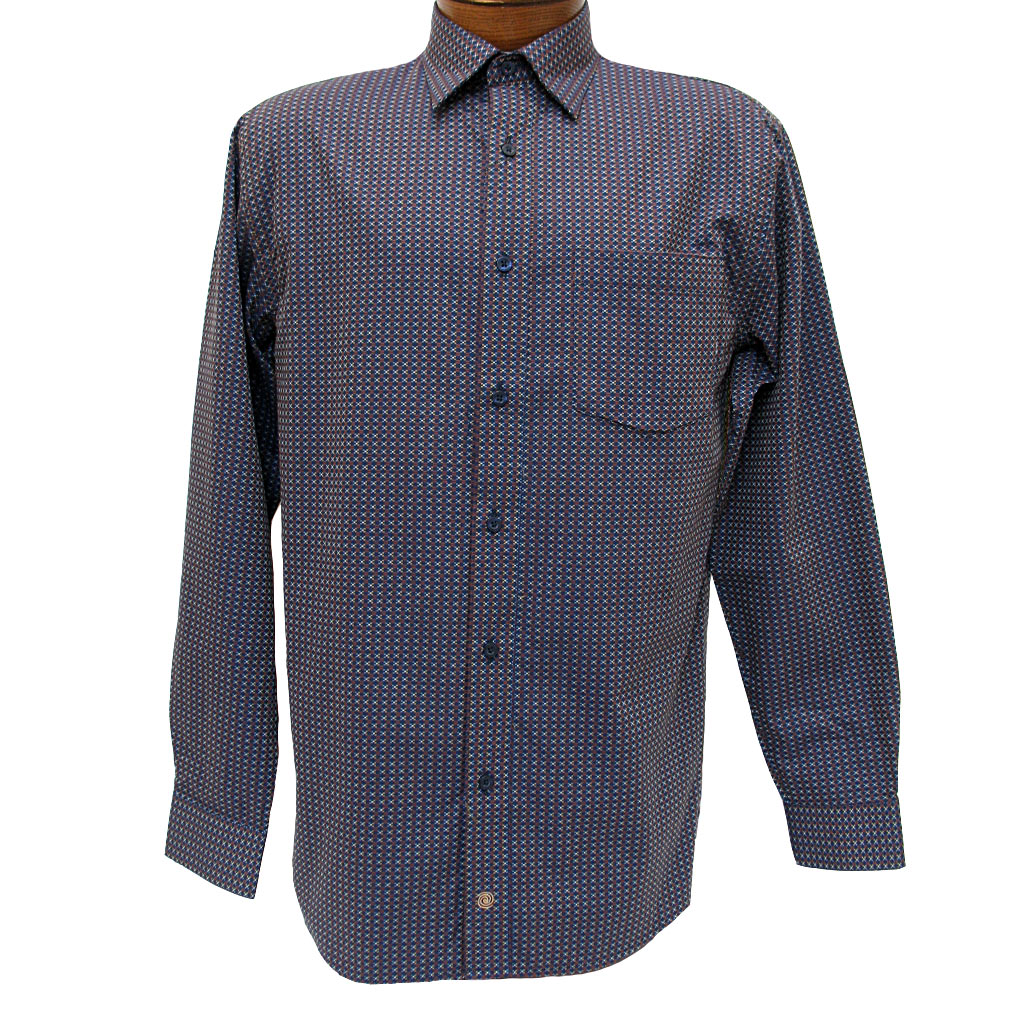 6cae498c0f4 Men's F/X Fusion Long Sleeve Woven Wrinkle Resistant Sport Shirt,  Brown/Navy Geometric #D1013 (XXL, ONLY!)