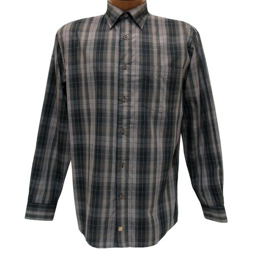 Men's F/X Fusion Long Sleeve Woven Wrinkle Resistant Sport Shirt, Taupe Check #D1026