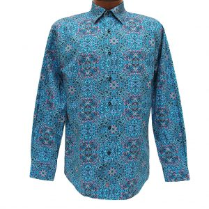 Men's Jon Randall Collection By F/X Fusion 100% Cotton Long Sleeve Aqua Multi Persian Digital Print Sport Shirt #J701