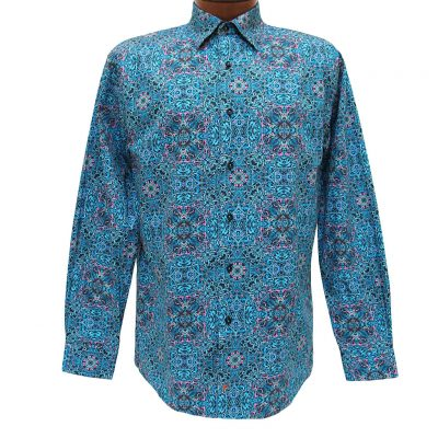 Men's Jon Randall Collection By F/X Fusion 100% Cotton Long Sleeve Aqua Multi Persian Digital Print Sport Shirt #J701