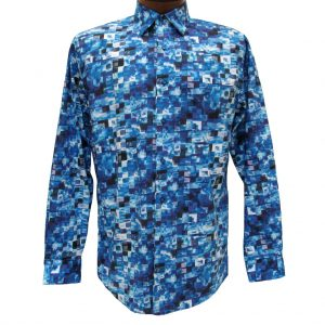 Men's Jon Randall Collection By F/X Fusion 100% Cotton Long Sleeve Blue Multi Stacked Digital Print Sport Shirt #J702 (XXL, ONLY!)
