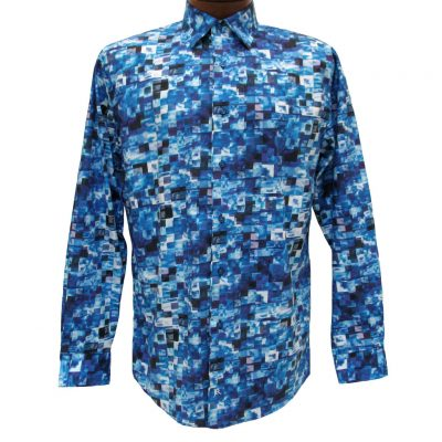 Men's Jon Randall Collection By F/X Fusion 100% Cotton Long Sleeve Blue Multi Stacked Digital Print Sport Shirt #J702