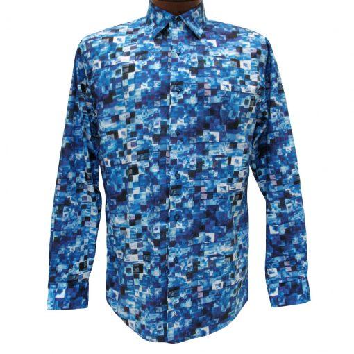 Men's Jon Randall Collection By F/X Fusion 100% Cotton Long Sleeve Blue Multi Stacked Digital Print Sport Shirt #J702