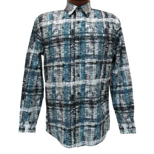Men's Jon Randall Collection By F/X Fusion 100% Cotton Long Sleeve Green/Blue Abstract Digital Print Sport Shirt #J704