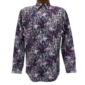 Men's Jon Randall Collection By F/X Fusion 100% Cotton Long Sleeve Purple Splash Digital Print Sport Shirt #J709 (XXL, ONLY!)