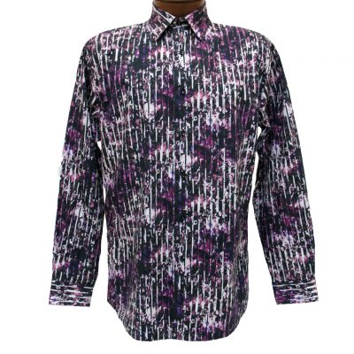 Men's Jon Randall Collection By F/X Fusion 100% Cotton Long Sleeve Purple Splash Digital Print Sport Shirt #J709