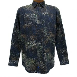 Men's Jon Randall Collection By F/X Fusion 100% Cotton Long Sleeve Navy Cosmic Digital Print Sport Shirt #J718
