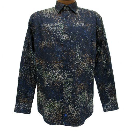 Men's Jon Randall Collection By F/X Fusion 100% Cotton Long Sleeve Navy Cosmic Digital Print Sport Shirt #J718