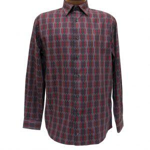 Men's Jon Randall Collection By F/X Fusion 100% Cotton Long Sleeve Burgundy/Charcoal Broken Stripe Woven Sport Shirt #J713