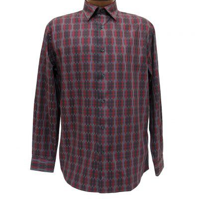 Men's Jon Randall Collection By F/X Fusion 100% Cotton Long Sleeve Burgundy/Charcoal Broken Stripe Woven Sport Shirt #J713