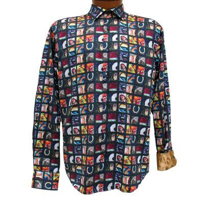 Men's Mazumi Couture Long Sleeve 100% Egyptian Cotton Sateen Digital Print With Contrast Trim Sport Shirt #M1019 Black/Multi