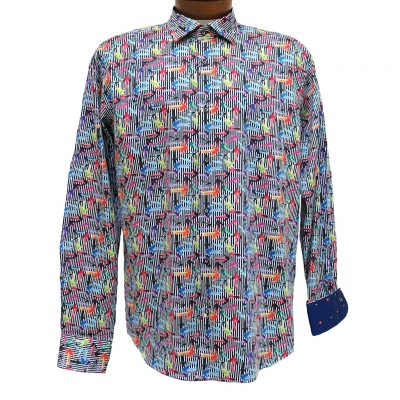 Men's Mazumi Couture Long Sleeve 100% Egyptian Cotton Sateen Digital Print With Contrast Trim Sport Shirt #M1042 Multi
