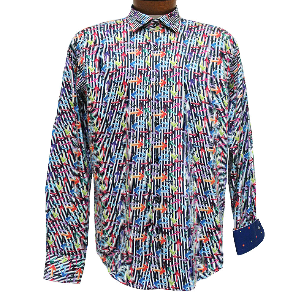 Men's Mazumi Couture Long Sleeve 100% Egyptian Cotton Sateen Digital Print With Contrast Trim Sport Shirt #M1042 Multi