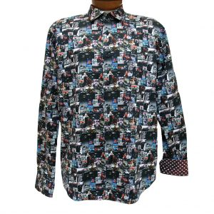 Men's Mazumi Couture Long Sleeve 100% Egyptian Cotton Sateen Digital Print With Contrast Trim Sport Shirt #M1007 Black/Multi