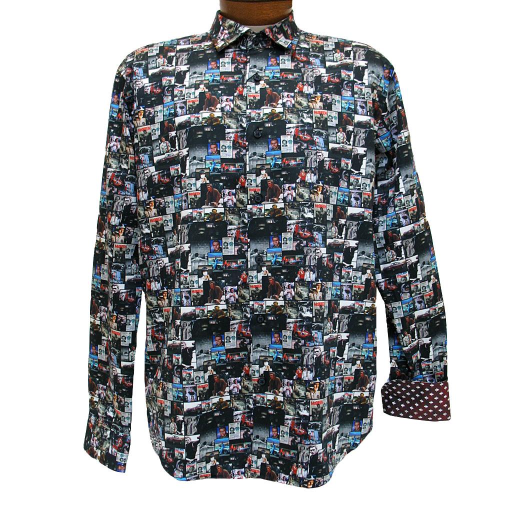 Men's Mazumi Couture Long Sleeve 100% Egyptian Cotton Sateen Digital Print With Contrast Trim Sport Shirt #M1007 Black/Multi