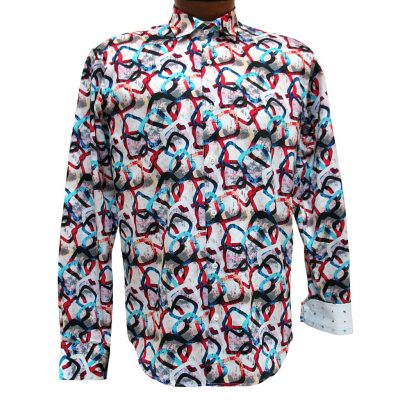 Men's Mazumi Couture Long Sleeve 100% Egyptian Cotton Sateen Digital Print With Contrast Trim Sport Shirt #M1022 Multi
