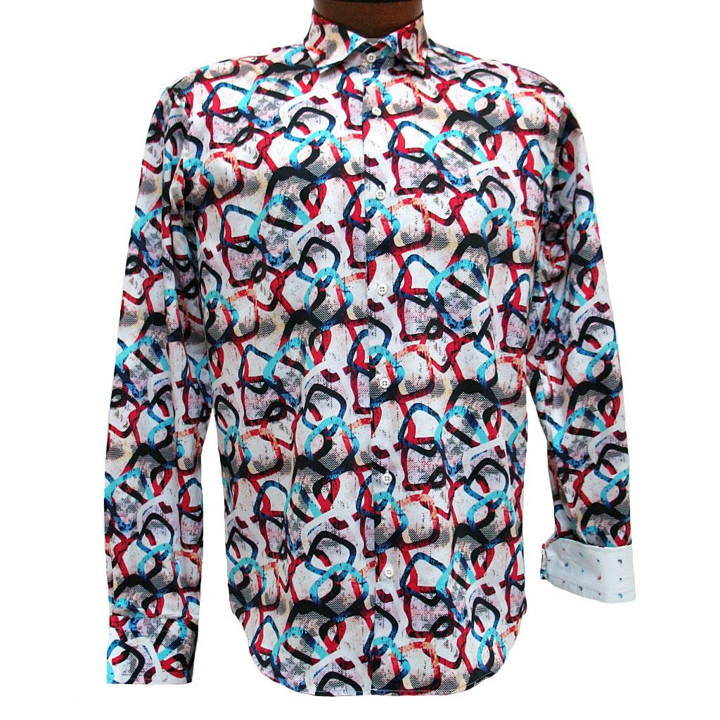 Men's Mazumi Couture Long Sleeve 100% Egyptian Cotton Sateen Digital Print With Contrast Trim Sport Shirt #M1022 Multi