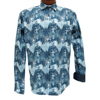 Men's Mazumi Couture Long Sleeve 100% Egyptian Cotton Sateen Digital Print With Contrast Trim Sport Shirt #M1038 Blue/Multi