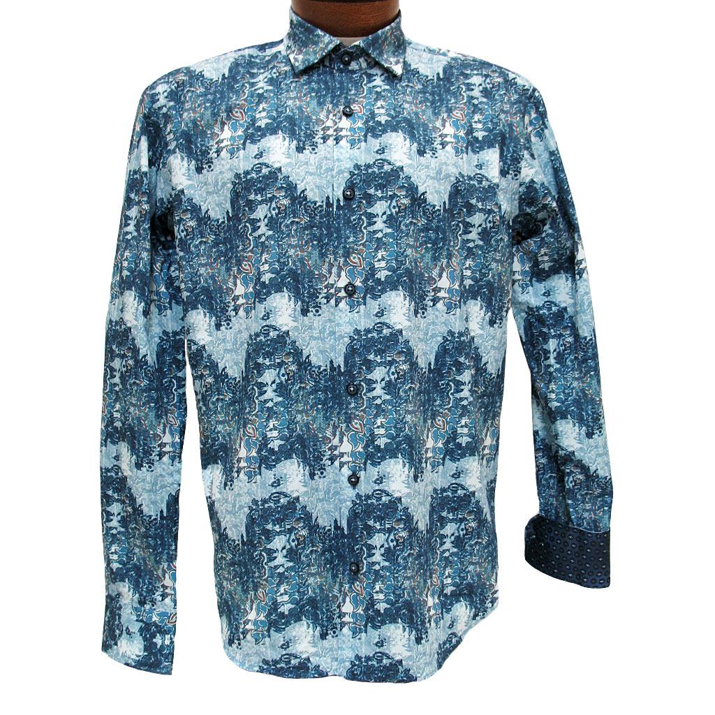 Men's Mazumi Couture Long Sleeve 100% Egyptian Cotton Sateen Digital Print With Contrast Trim Sport Shirt #M1038 Blue/Multi