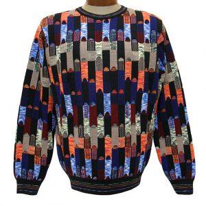 Men's Montechiaro Made in Italy Long Sleeve Merino Wool Blend Textured Crew Neck Sweater #181204 Multi