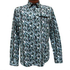 Men's Vincent D'Amerique 100% Cotton Ice Break Print Long Sleeve Sport Shirt #121216 Black/Teal (M, ONLY!)
