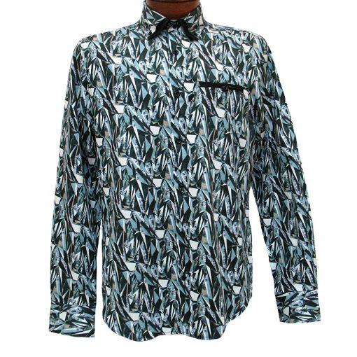 Men's Vincent D'Amerique 100% Cotton Ice Break Print Long Sleeve Sport Shirt #121216 Black/Teal