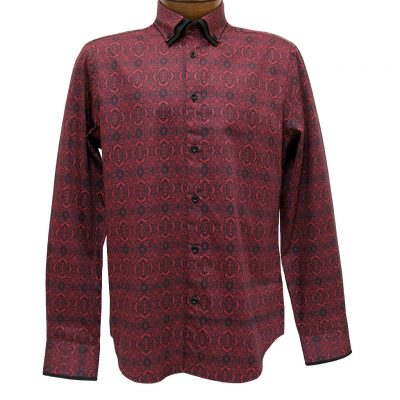 Men's Vincent D'Amerique 100% Cotton Tapestry Print Long Sleeve Sport Shirt #121218 Black/Red