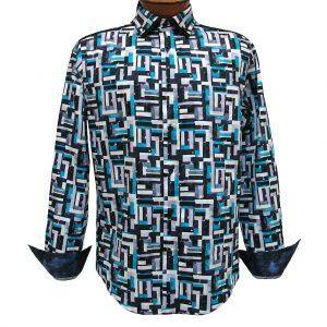 Men's Vincent D'Amerique 100% Cotton Watercolor Patchwork Print Long Sleeve Sport Shirt #121211 Black/Purple (XXL, ONLY!)