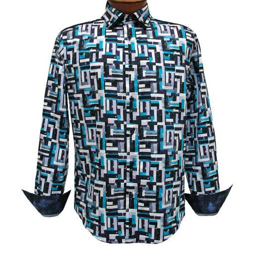 Men's Vincent D'Amerique 100% Cotton Watercolor Patchwork Print Long Sleeve Sport Shirt #121211 Black/Purple