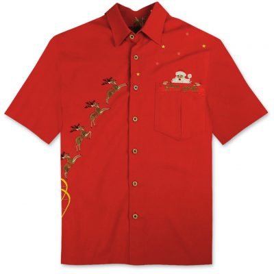 Men's Bamboo Cay Short Sleeve Embroidered Limited Addition Christmas Shirt, Peekaboo Santa #SN117 Red
