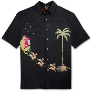 Men's Bamboo Cay Short Sleeve Embroidered Limited Addition Christmas Shirt, Santa's Landing #SN4444 Black (M, ONLY!)